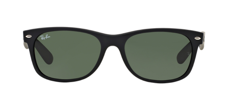 Ray Ban New Wayfarer RB2132 Black Rubber Sunglasses