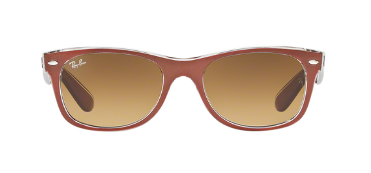 Ray Ban New Wayfarer RB2132  Top Brushed Brown Transparent Sunglasses